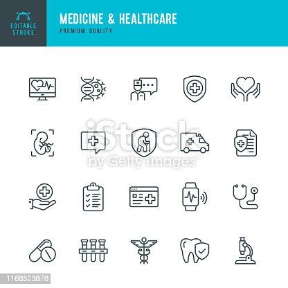 Medicine & Healthcare - vector line icon set. Medicine, Healthcare, Insurance, First aid, Pregnancy, Ambulance car, Smart watch, Caduceus,