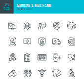 Medicine & Healthcare - vector line icon set. Medicine, Healthcare, Insurance, First aid, Pregnancy, Ambulance car, Smart watch, Caduceus,