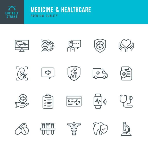 의학 및 건강 관리 - 벡터 라인 아이콘 세트. 편집 가능한 스트로크입니다. 완벽한 픽셀. 의학, 보험, 임신, 구급차, 카두세우스, - doctor stock illustrations