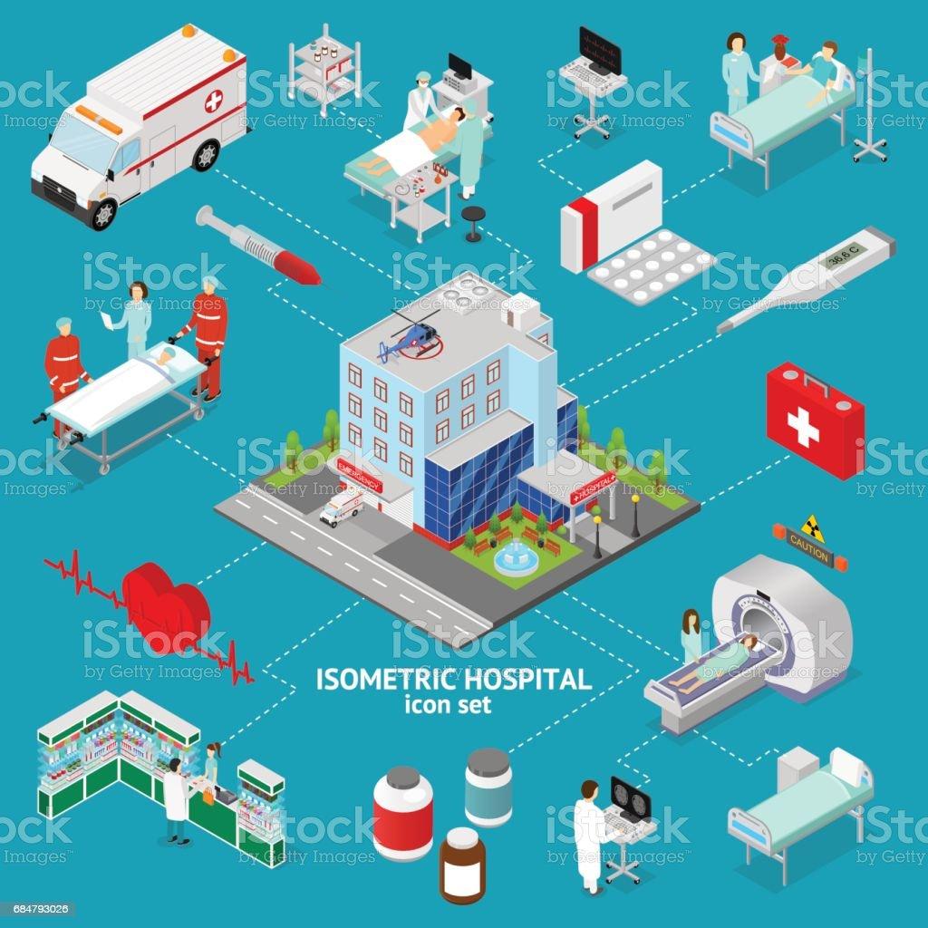 Medicine Hospital Concept Isometric View. Vector vector art illustration
