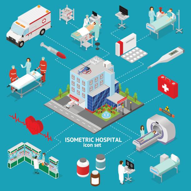 Medicine Hospital Concept Isometric View. Vector vector art illustration