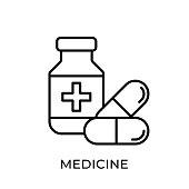 Medicine icon vector illustration. Medicine vector illustration template. Medicine icon design isolated on white background. Medicine vector icon flat design for website, logo, sign, symbol, app, UI.