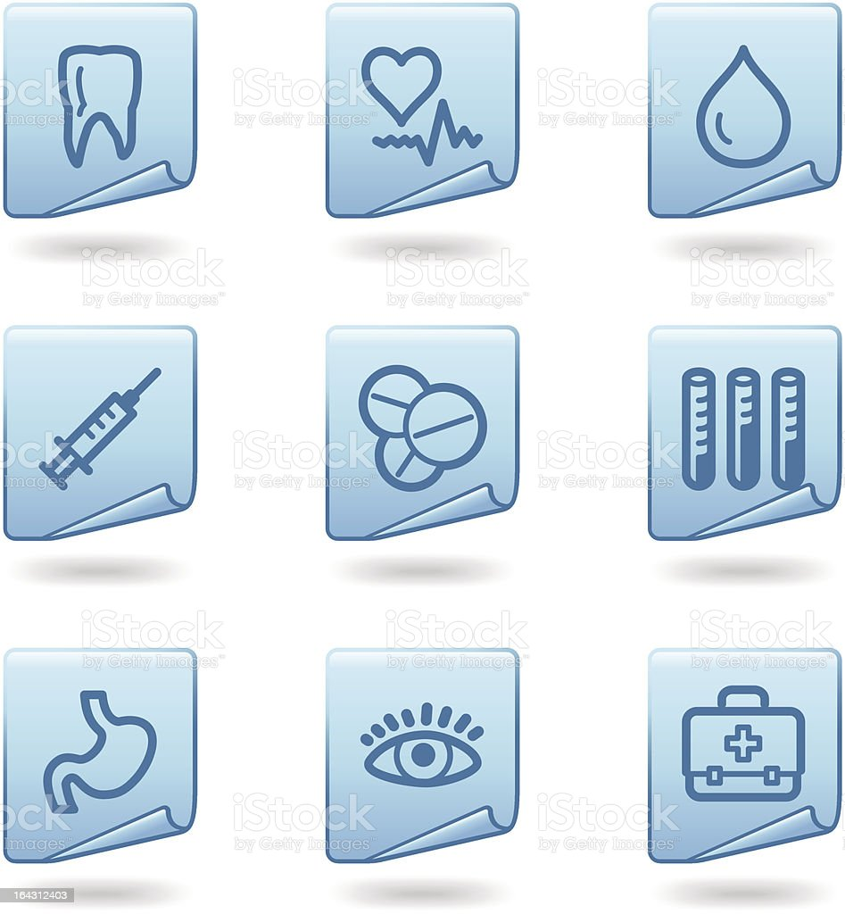 Medicine icons, blue sticker series royalty-free medicine icons blue sticker series stock vector art & more images of abdomen