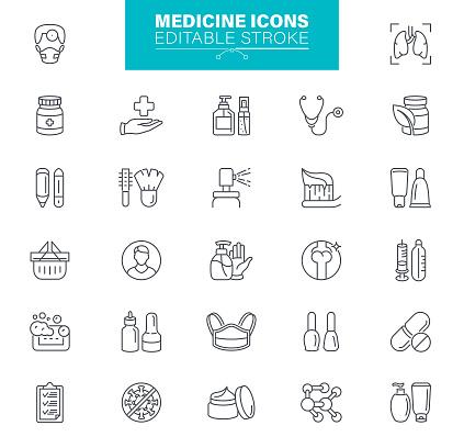 Medicine Icons Editable Stroke