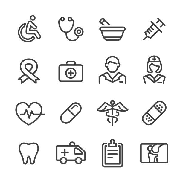 medicine icons - line series - first aid stock illustrations, clip art, cartoons, & icons