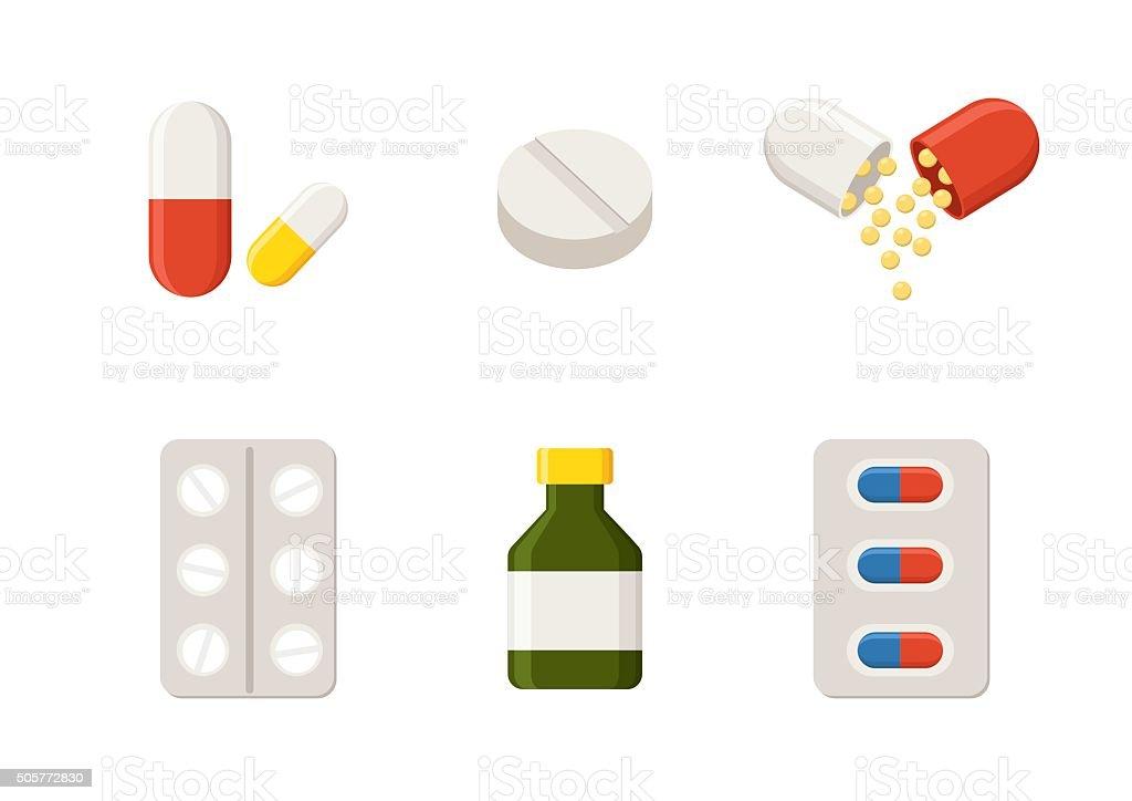 Medicine icons Pills, Capsules and Prescription Bottle. Drugs vector illustration vector art illustration