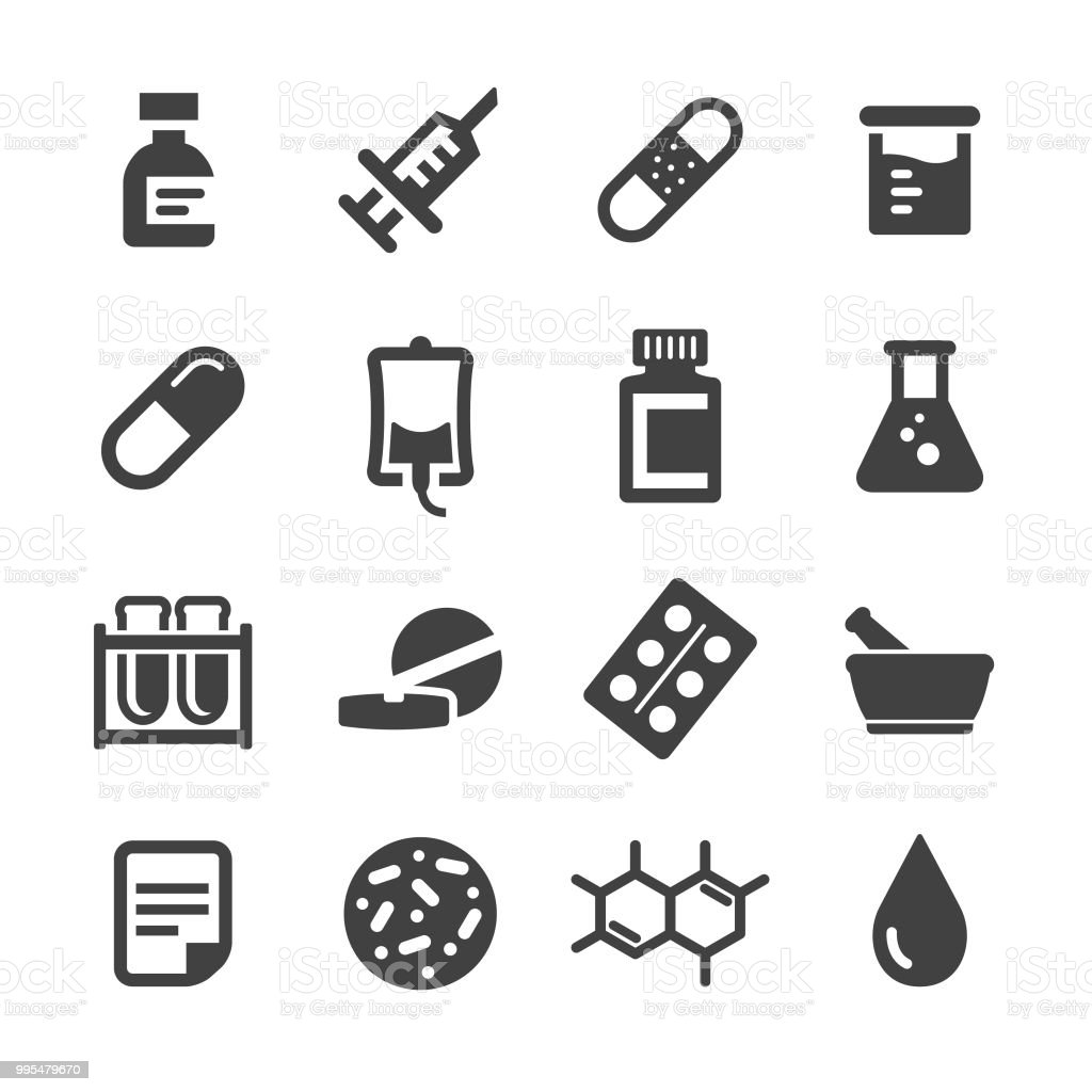 Set de iconos medicina - serie Acme - ilustración de arte vectorial
