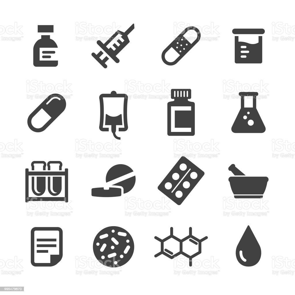 Medicine Icons Set - Acme Series vector art illustration