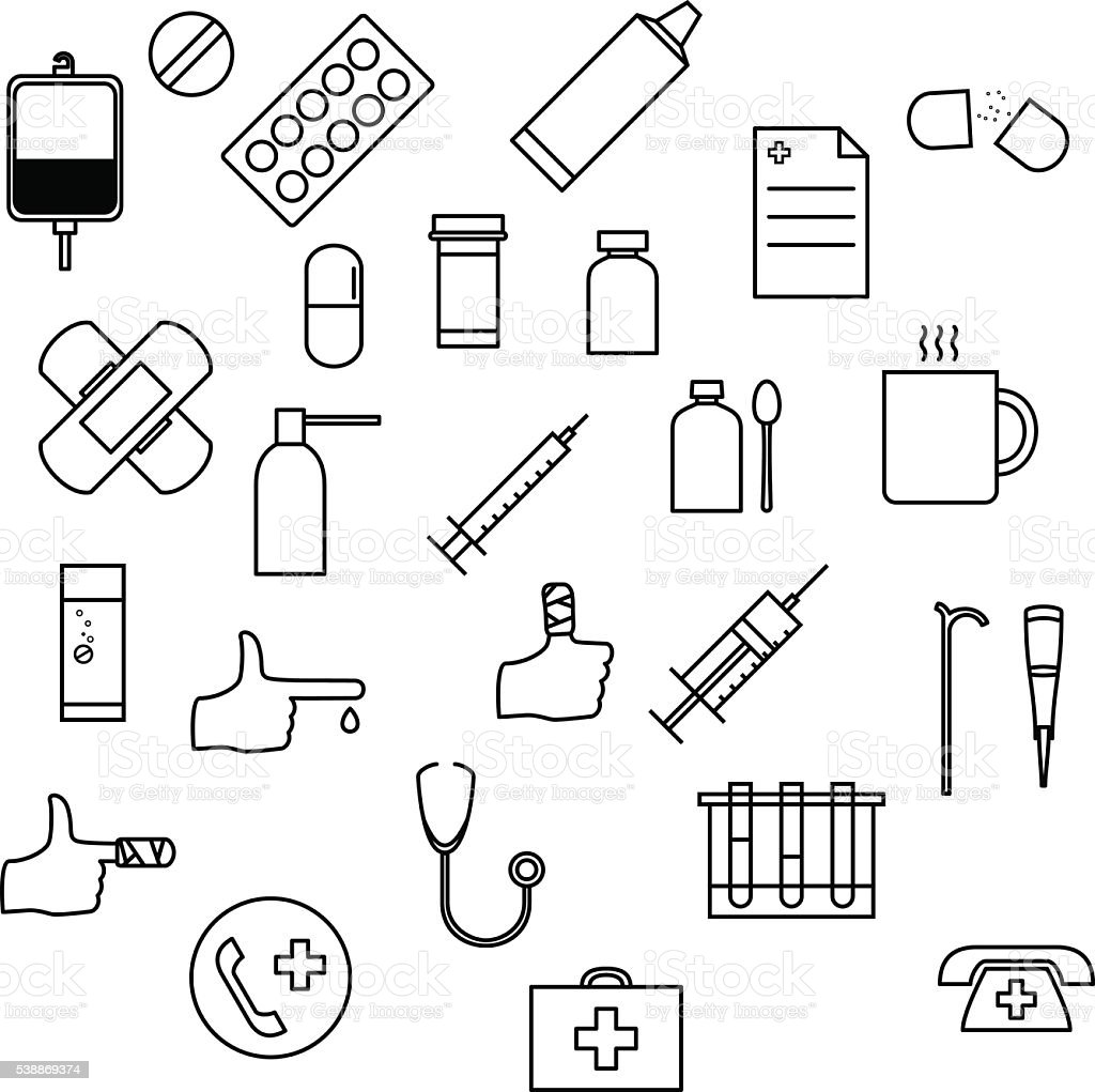 Medicine icons set. vector art illustration