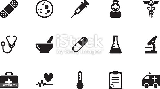 A collection of medicine icons, in various sizes and formats: