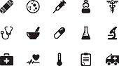 Medicine icons . Simple black
