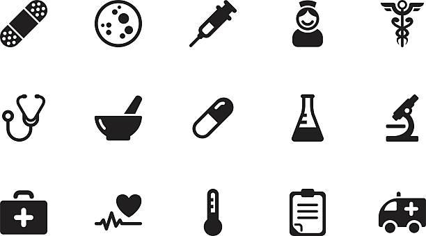 illustrazioni stock, clip art, cartoni animati e icone di tendenza di icone di medicina.  semplice black - siringa