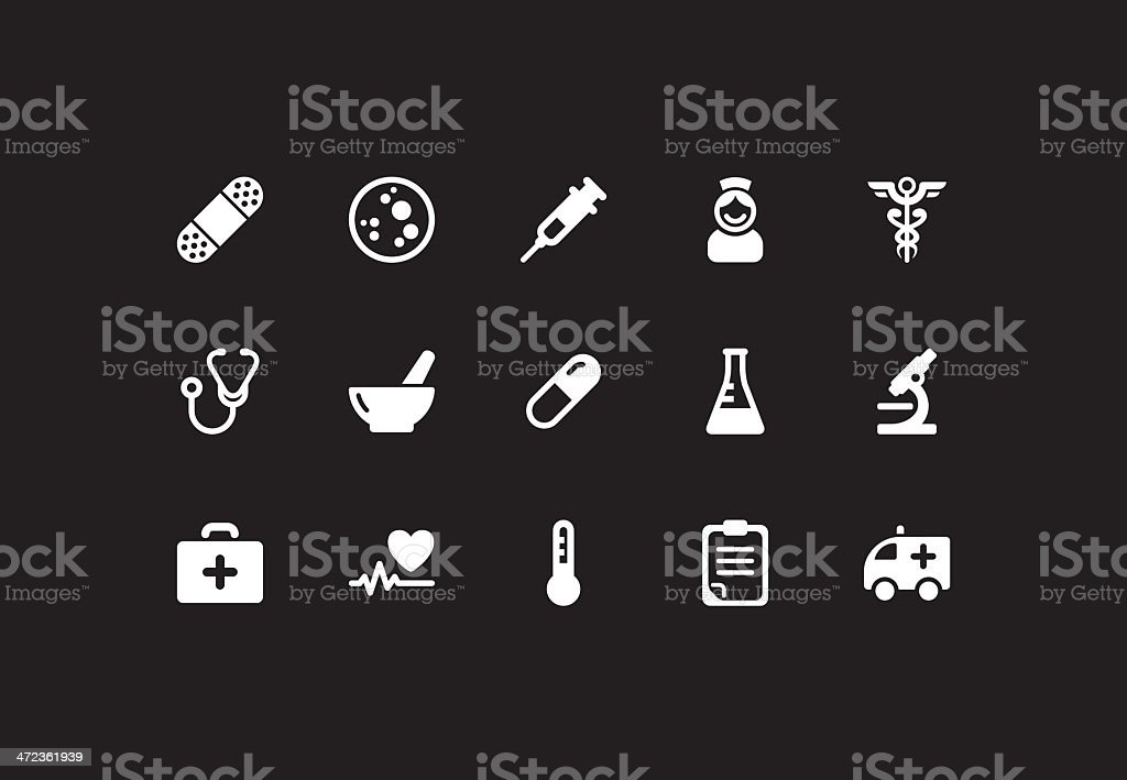 Medicine icons . Simple white royalty-free stock vector art
