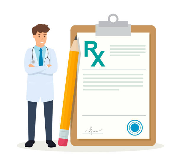 Medicine illustration isolated on white background. Doctor writing RX medical prescription. Healthcare and pharmacy concept. Flat style. Medicine illustration isolated on white background. Doctor writing RX medical prescription. Healthcare and pharmacy concept. pharmacist stock illustrations