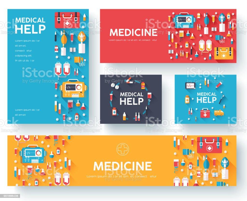 Ilustración de Conjunto De Tarjetas De Información De Medicina ...