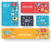 Medicine information cards set. Medical template of flyer, magazines, posters, book cover. Clinical graphic concept on blue background. Layout illustrations template pages with typography text