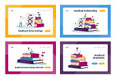 Medicine Interns Landing Page Template Set. Tiny Medical Characters in White Robes Study on Huge Books Pile Prepare for Examination, Students Learning in Institute. Cartoon People Vector Illustration