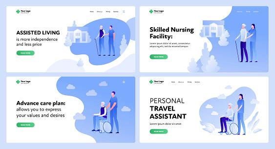 Medicine landing page template set. Active seniors assistance concept.