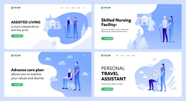medicine landing page template set. active seniors assistance concept. - care home stock illustrations