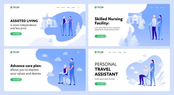 medicine landing page template set. active seniors assistance concept. - проживание с уходом stock illustrations