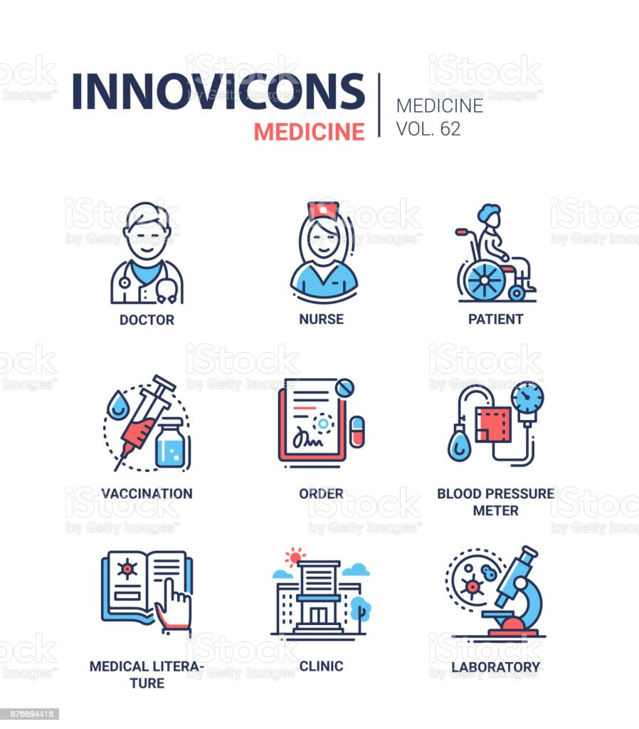 Medicine - line design icons set vector art illustration