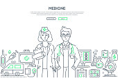 Medicine - line design style illustration on white background with place for your text. Banner with two young doctors, ambulance, microscope, first aid kit, thermometer, syringe, other equipment