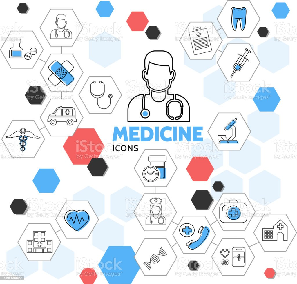 Medicine Line Icons In Hexagons Collection royalty-free medicine line icons in hexagons collection stock vector art & more images of ambulance