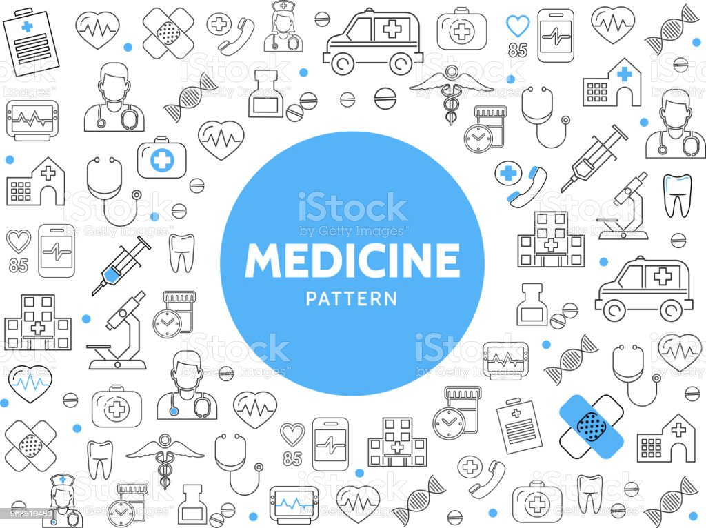 Medicine Line Icons Pattern - Royalty-free Ambulance stock vector