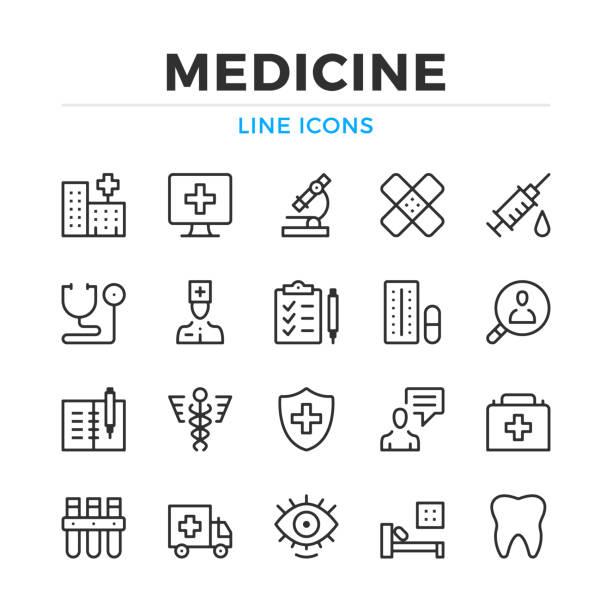ilustraciones, imágenes clip art, dibujos animados e iconos de stock de conjunto de iconos de medicina línea. elementos de contorno moderno, conceptos de diseño gráfico. trazo, estilo lineal. colección de símbolos sencillos. iconos de línea del vector - exámenes médicos