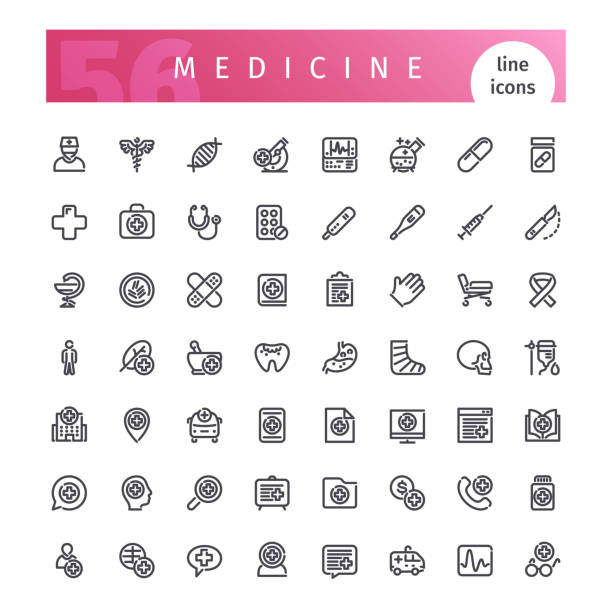 ilustraciones, imágenes clip art, dibujos animados e iconos de stock de conjunto de iconos de medicina línea - investigación médica