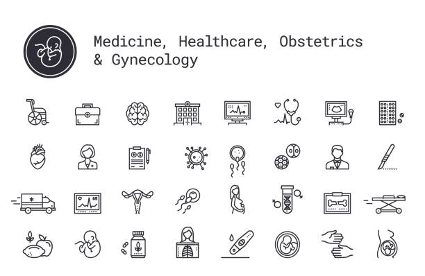 Medicine, medical services, pregnancy, obstetrics, gynecology linear icons set. Vector illustration clipart collection isolated on white background. Medical services, pregnancy, obstetrics, gynecology thin line icons. Mother, fetus, newborn health. Ambulance, treatment, reanimation, health care equipment. Pictograms for web service and mobile app. dna test stock illustrations