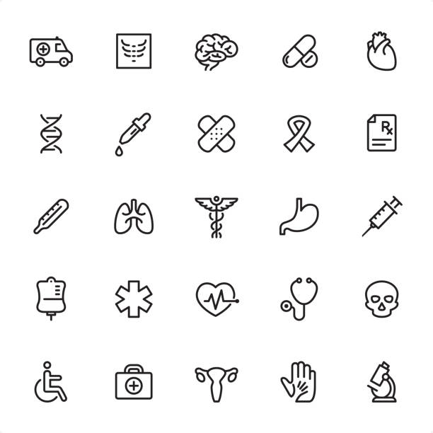 Medicine - Outline Icon Set Medicine - 25 Outline Style - Single black line icons - Pixel Perfect / Pack #13 Icons are designed in 48x48pх square, outline stroke 2px.  First row of outline icons contains: Ambulance, X-Ray, Brain, Pills, Human Heart ;  Second row contains: DNA, Pipette, Bandage, Ribbon, Rx;  Third row contains: Thermometer, Lungs, Caduceus, Stomach, Syringe;  Fourth row contains: Blood Bag, Paramedic, Pulse Trace, Stethoscope, Skull;  Fifth row contains: Disabled, First Aid, Uterus, Helping Hand, Research.  Complete Grandico collection - https://www.istockphoto.com/collaboration/boards/FwH1Zhu0rEuOegMW0JMa_w medical x ray stock illustrations