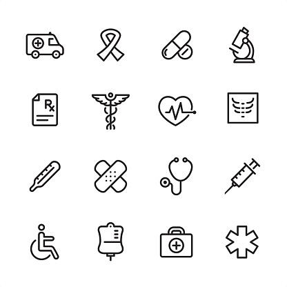 Medicine - outline icon set