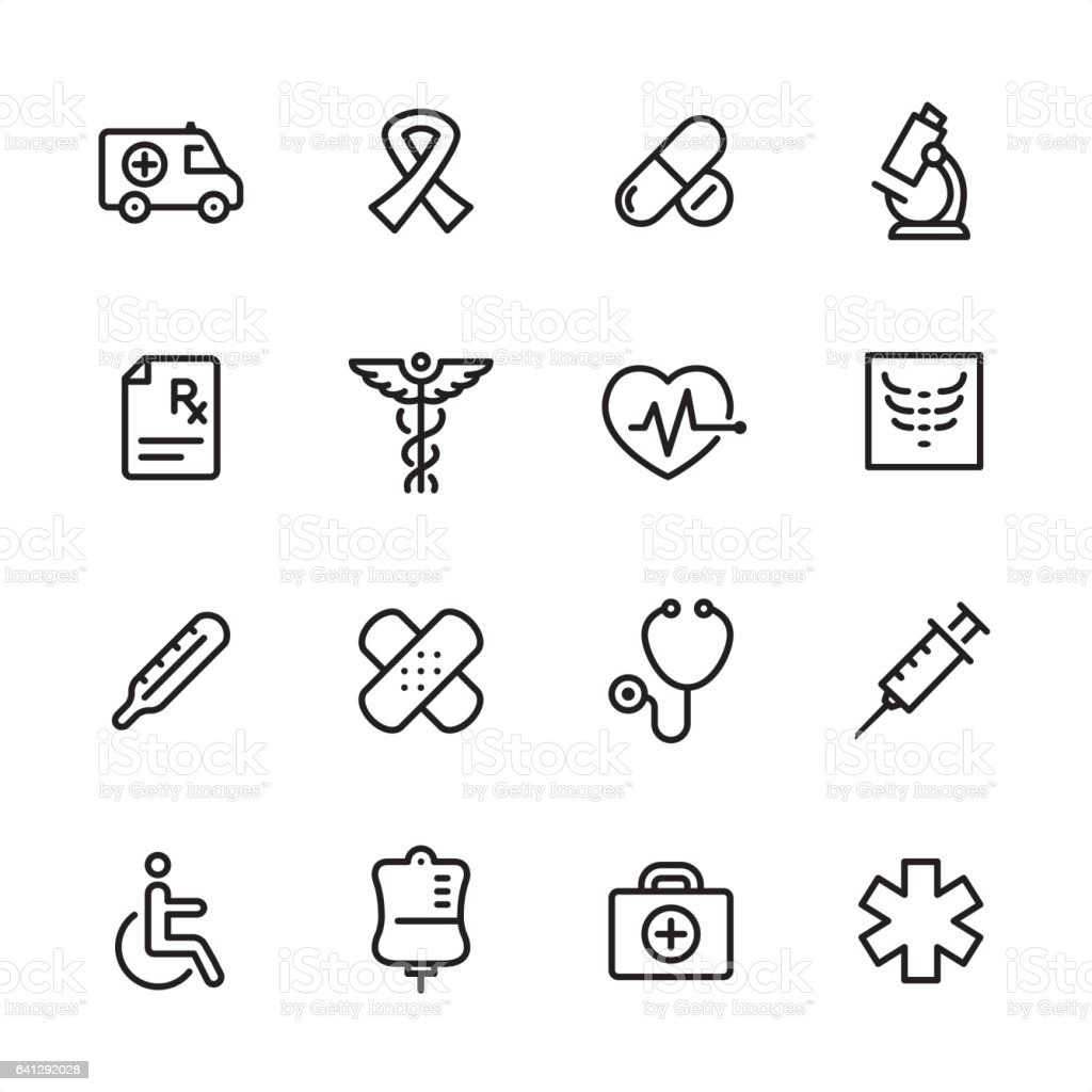 Medicine - outline icon set vector art illustration