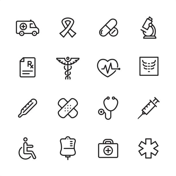 Medicine - outline icon set 16 line black and white icons / Set #14 radiology stock illustrations