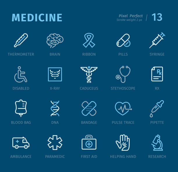 ilustraciones, imágenes clip art, dibujos animados e iconos de stock de medicina - iconos de contorno con subtítulos - técnico en urgencias médicas