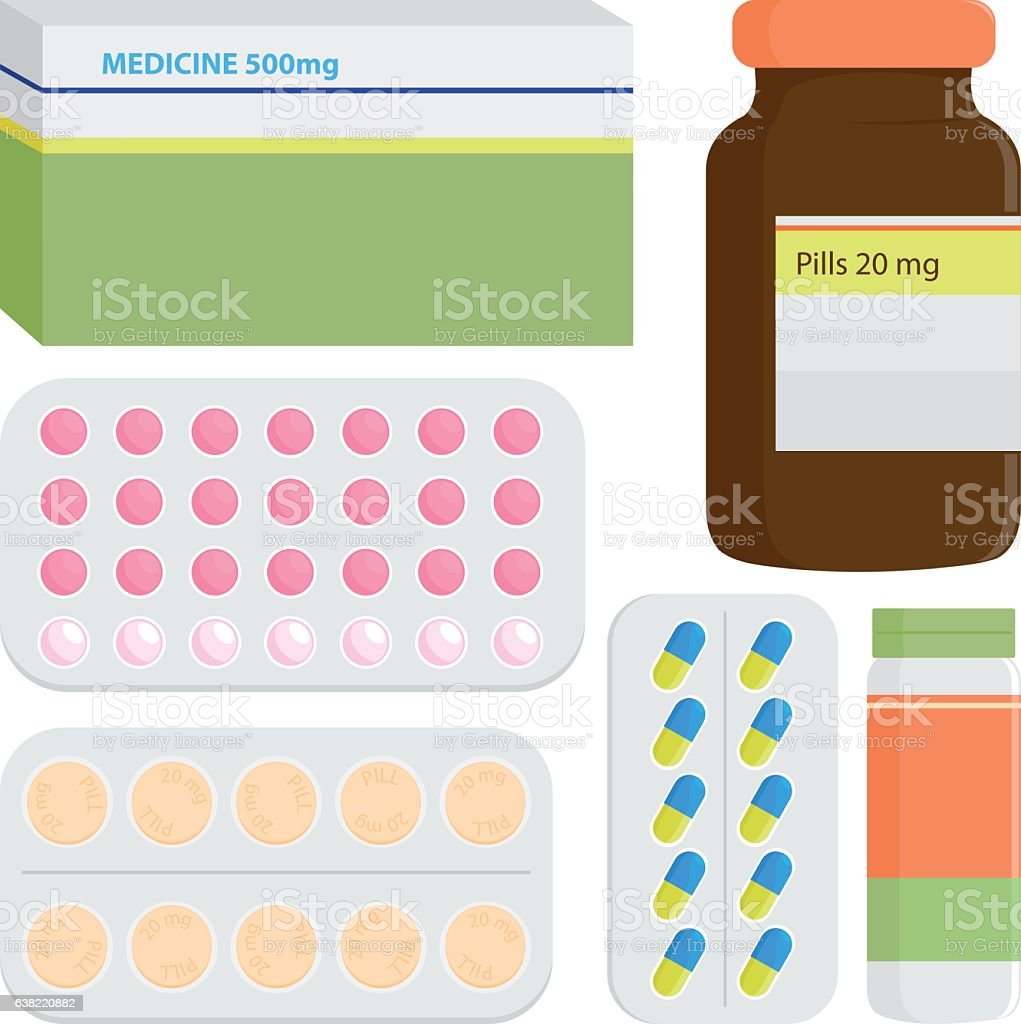 Medicine packages and pills vector art illustration