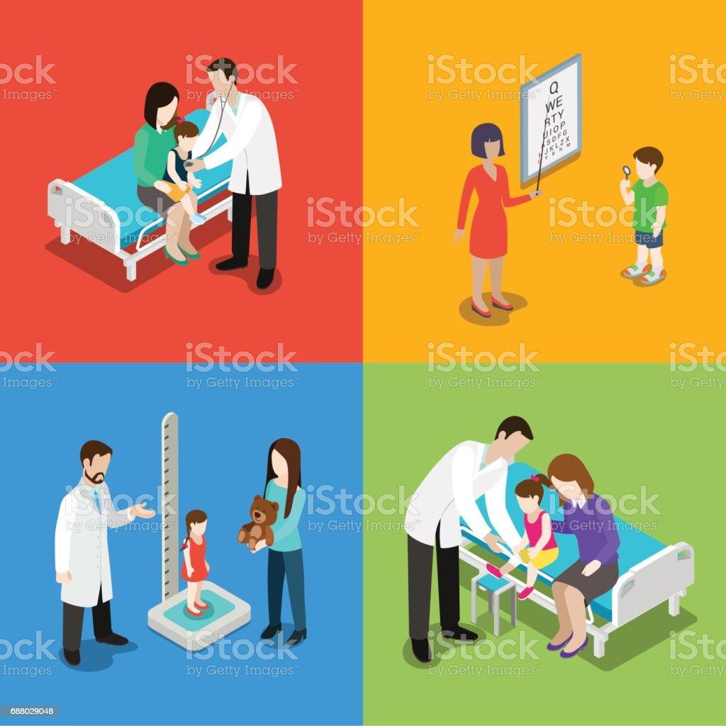 Medicine pediatrician pediatrics kid children baby doctor health care hospital nursing set. Flat 3d isometric medical concept web vector illustration. Checkup oculist height measure traumatology. vector art illustration