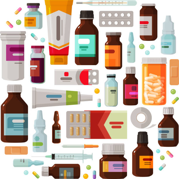 Medicine, pharmacy concept. Drug, medication set of icons. Vector illustration Medicine concept. Drug, medication set of icons. Vector illustration isolated on white background antipyretic stock illustrations