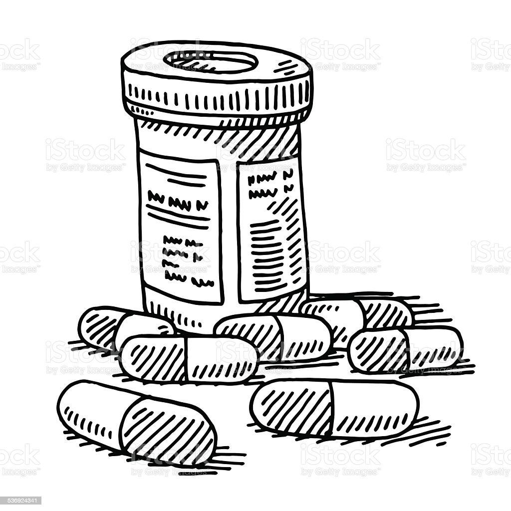 Medicine Pill Container Drawing vector art illustration