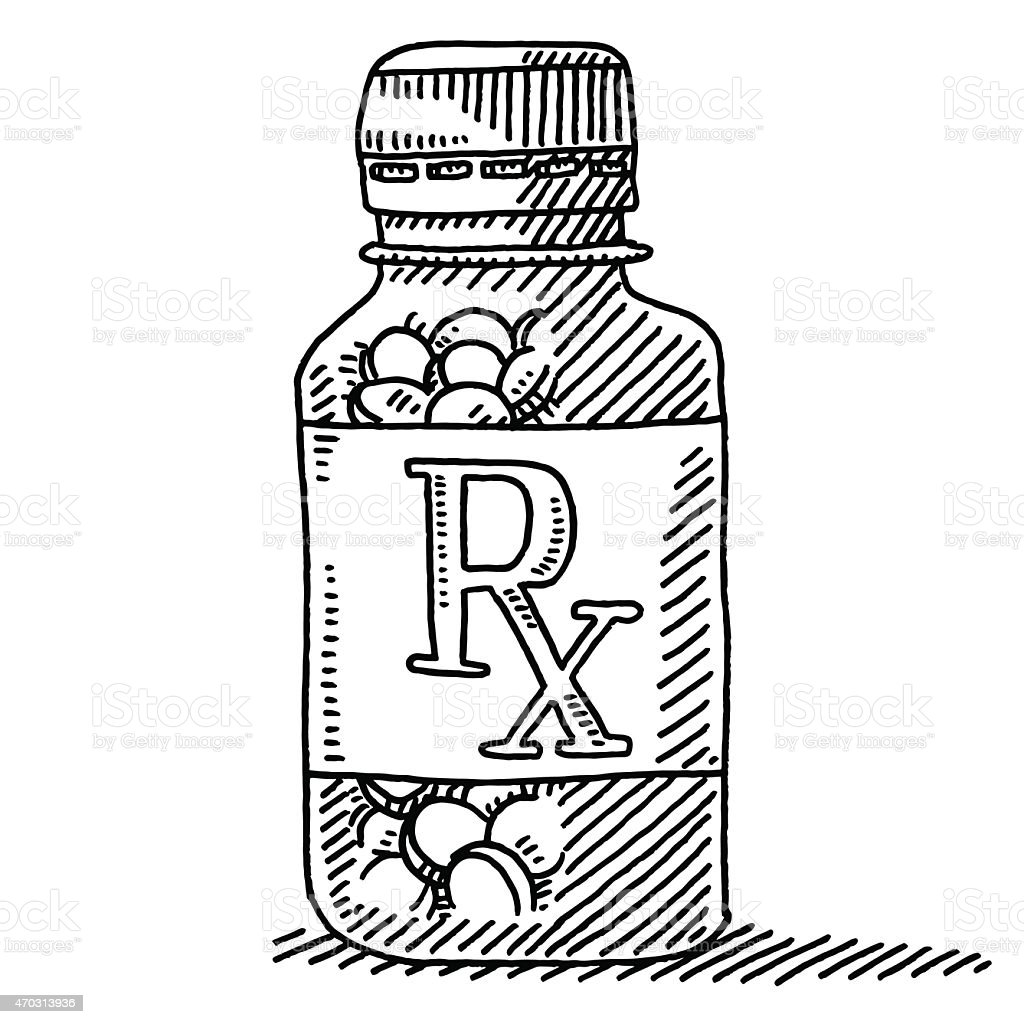 Medicine Pill Container RX Label Drawing vector art illustration