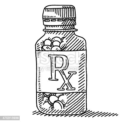 Medicine Pill Container Rx Label Drawing Stock Vector Art