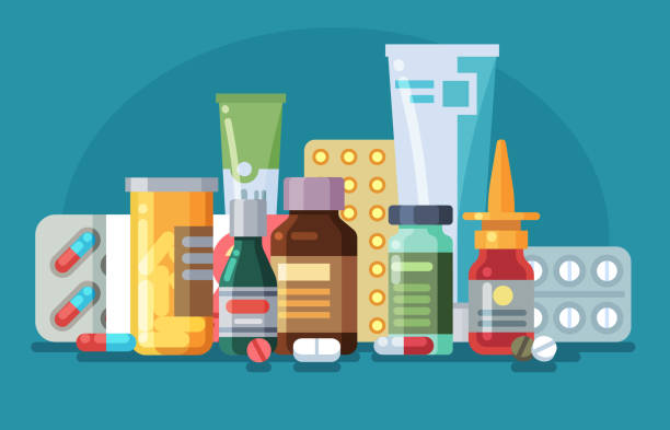 Medicine. Pills, capsules and glass meds bottles with medicine, tubes with ointment, medication spray. Pharmacological vector concept Medicine. Pills, capsules and glass meds bottles with medicine, tubes with ointment, medication spray. Pharmacological vector healthcare concept aspirin stock illustrations