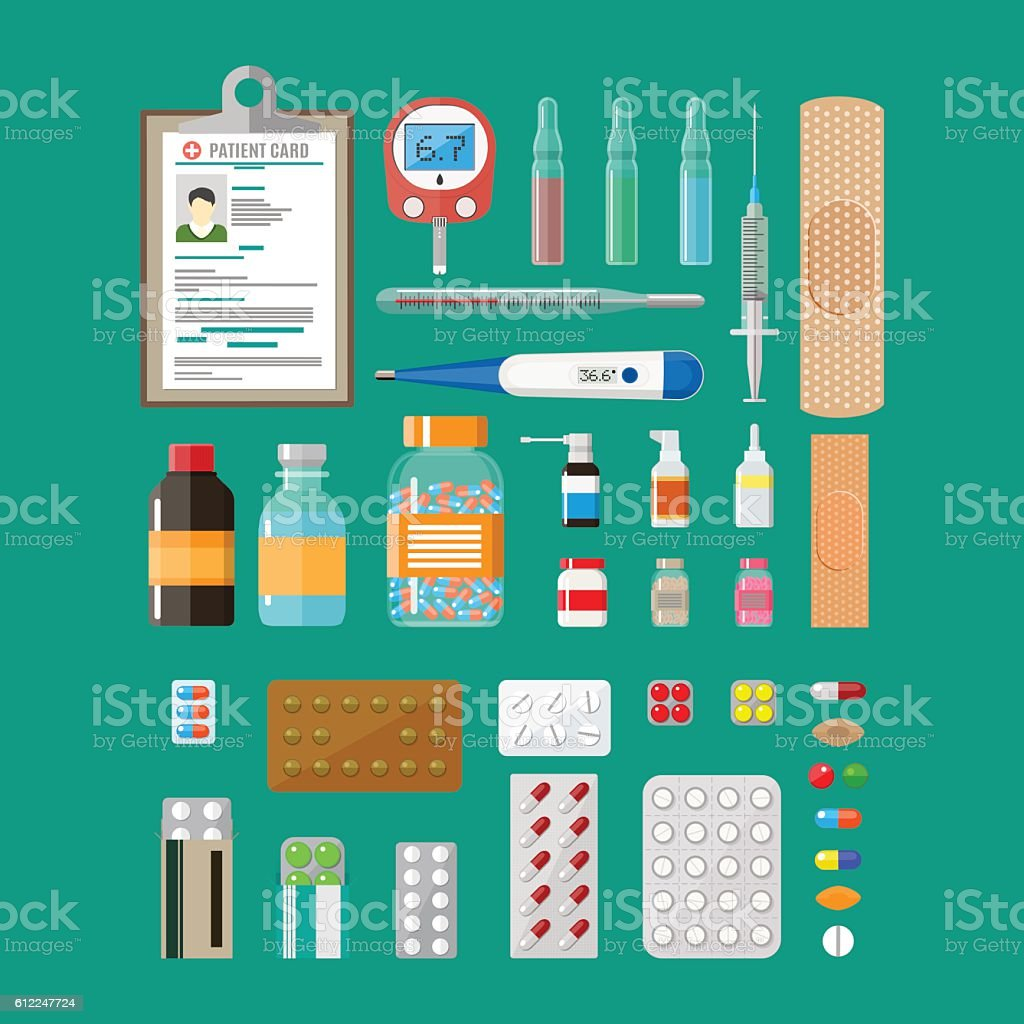 Medicine pills capsules and healthcare devices vector art illustration