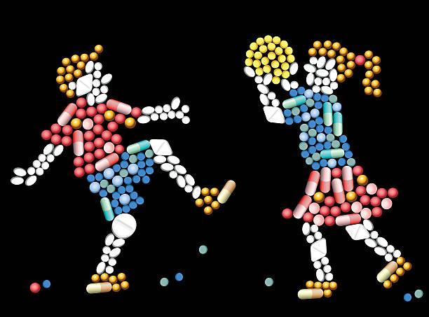 stockillustraties, clipart, cartoons en iconen met medicine pills children - amfetamine