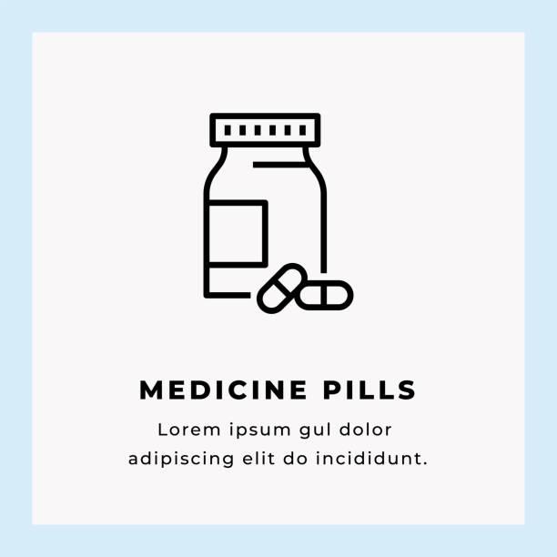 Medicine Pills Single Line Icon Medicine Pills Single Line Icon on Blue Background aspirin stock illustrations