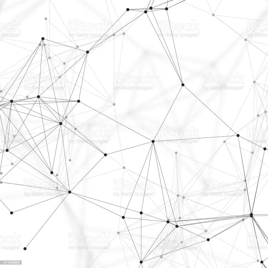 Medizin, Naturwissenschaft und Technik-Konzept. Minimalistisches Design. Chemie-Muster, Verbindungslinien und Punkte, Molekülstruktur auf weiße, wissenschaftliche medizinische DNA-Forschung, geometrische grafischen Hintergrund - Lizenzfrei Abstrakt Vektorgrafik