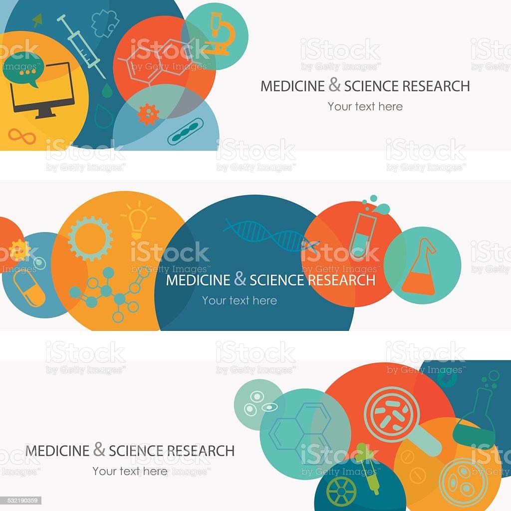 Medizin, Wissenschaft und Forschung Banner – Vektorgrafik