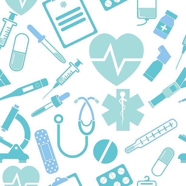 ilustrações, clipart, desenhos animados e ícones de remédios sem costura padrão - pediatra