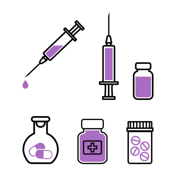 illustrazioni stock, clip art, cartoni animati e icone di tendenza di medicine. set of black and purple icons. vector illustration - farmaco